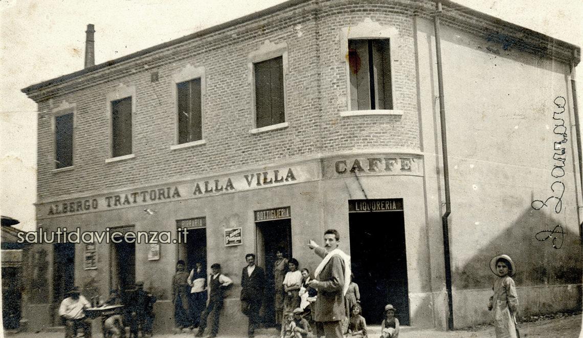Vicenza, foto cartolina d'epoca della trattoria Alla Villa, poi Osteria Piccolo Piemonte