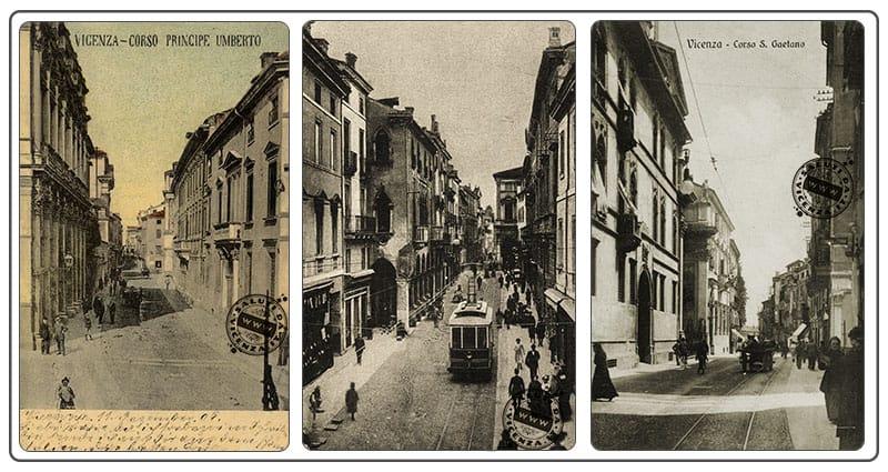 Corso Palladio in tre diverse cartoline d'epoca