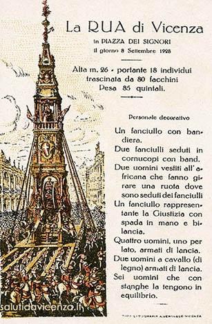 La Rua di Vicenza in una cartolina descrittiva del 1928