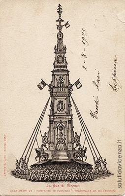 Cartolina d'epoca con stampa della Rua di Vicenza (1901)