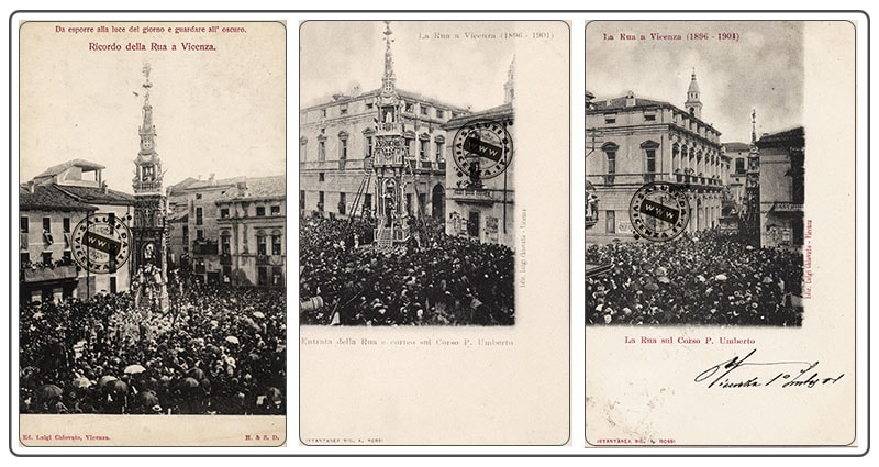 """Il """"giro"""" della Rua di Vicenza in Piazza Castello. Serie di cartoline d'epoca (1896-1901)"""