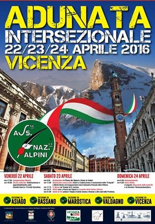 Manifesto dell'Adunata delle Penne Nere a Vicenza, 2016.