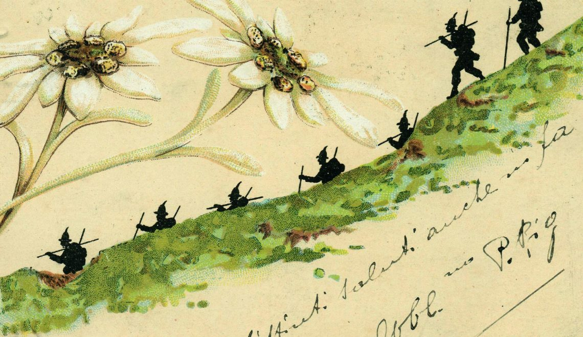 Cartolina Alpini - bentornate Penne nere