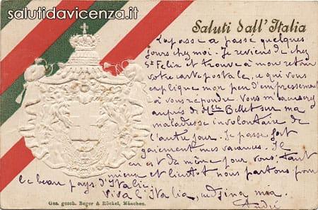 Il tricolore del Regno d'Italia in una cartolina commemorativa