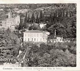 Panorama di Costozza con l'antica pieve di San Mauro.