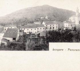 Cartolina d'epoca con veduta panoramica di Longare, 1910.