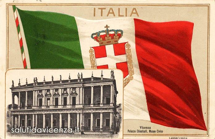 Vicenza, Palazzo Chiericati in una cartolina commemorativa del Regno d'Italia.