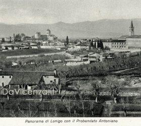 Veduta panoramica di Lonigo. Cartolina postale viaggiata nel 1924.
