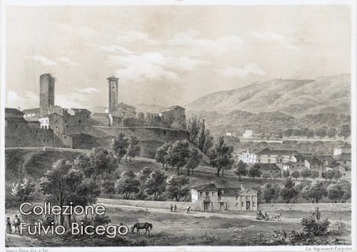 Stampa antica riprodotta nel calendario Frammenti di storia a Bassano del Grappa.