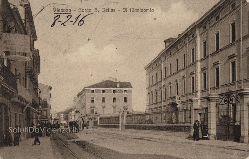 Scorcio del corso SS. Felice e Fortunato e la palazzina del manicomio provinciale di Vicenza