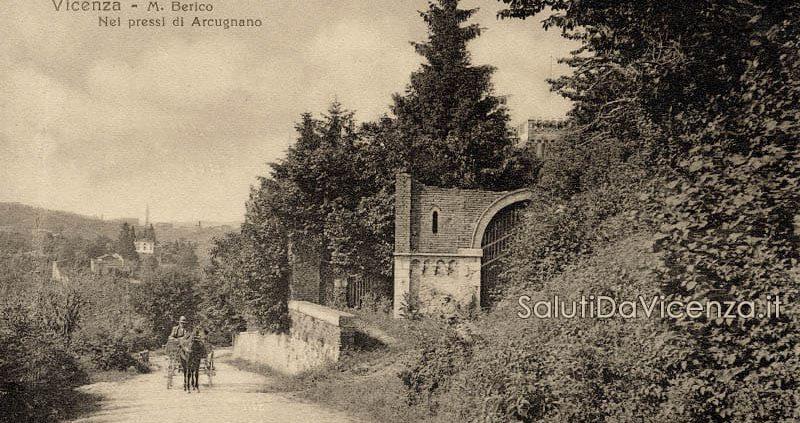 Strada che collega Monte Berico - Vicenza ad Arcugnano, nei pressi di Villa Pasini. Cartolina d'epoca.