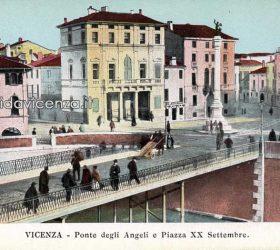 Cartolina del primo Novecento del Ponte degli Angeli, Vicenza.