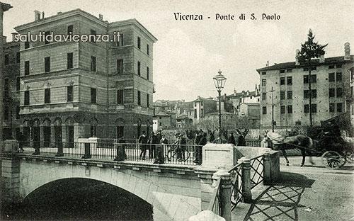 Ponte San Paolo a Vicenza in una cartolina d'epoca
