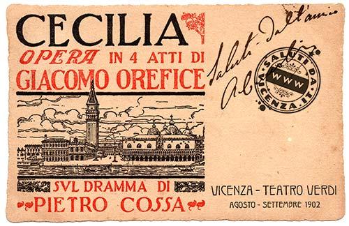 """Opera """"Cecilia"""" di Giacomo Orefice in una cartolina d'epoca"""