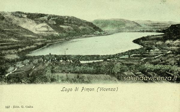 Panorama sul lago di Fimon dai Colli Berici. Cartolina d'epoca ed. Galla