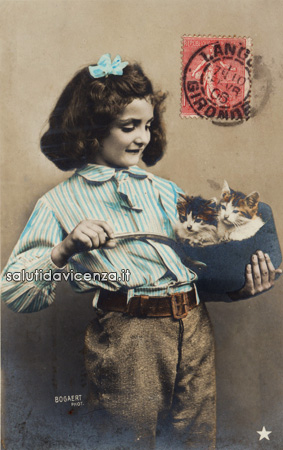 Vicentini magnagati - cartolina postale umoristica del primo Novecento