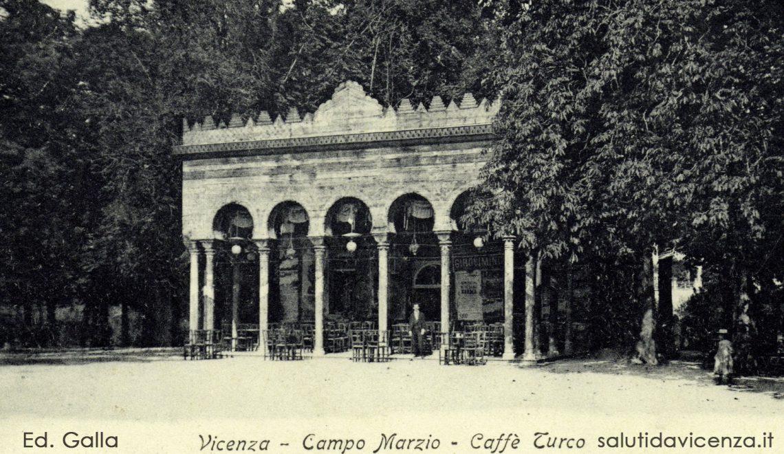 Il Caffè Turco, oggi Caffè Moresco, nuova sede degli Alpini d Vicenza. Cartolina ed. Galla 1904.