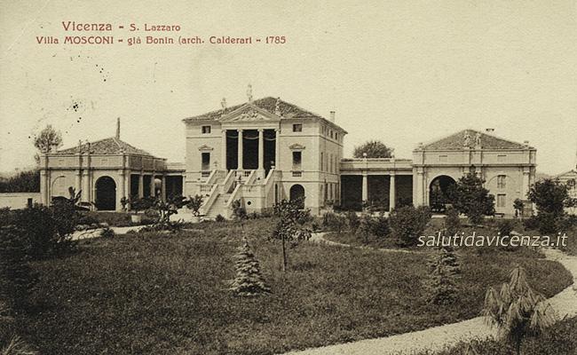 La bellissima Villa Mosconi a San Lazzaro di Vicenza in una cartolina antica