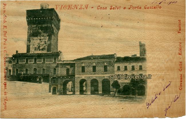 Porta Castello a Vicenza in una rara cartolina da collezione in legno