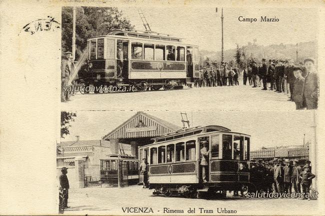 Antiche cartoline da collezione di Vicenza inaugurazione tram