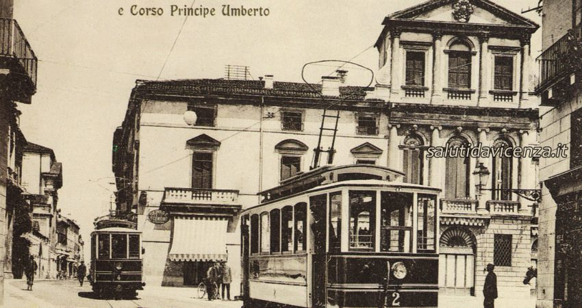 Cartolina antica del tram in piazza Castello a Vicenza