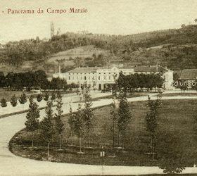 Cartolina del primo Novecento del Campo Marzio o Campo Marzo e della stazione dei treni
