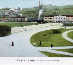 Campo Marzio, la stazione ferroviaria e Monte Berico in una cartolina antica