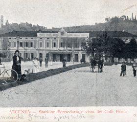 Viale Roma e stazione ferroviaria di Vicenza in una cartolina del primo Novecento